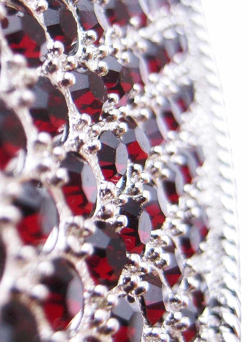 Deep Red Rhinestone Covered Heart Shaped Belt Buckle