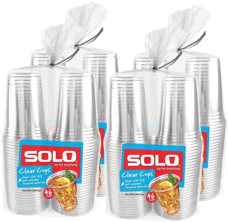 Solo Cup Clear Recycled Plastic Party Cups, 18 Oz, 184 Count