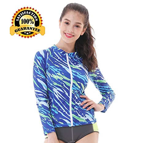 107b8ee0f635d L Sports Womens Rash Guard Top Long Sleeve Zip Front Sun Protection Plus  Size Girls for Surfing