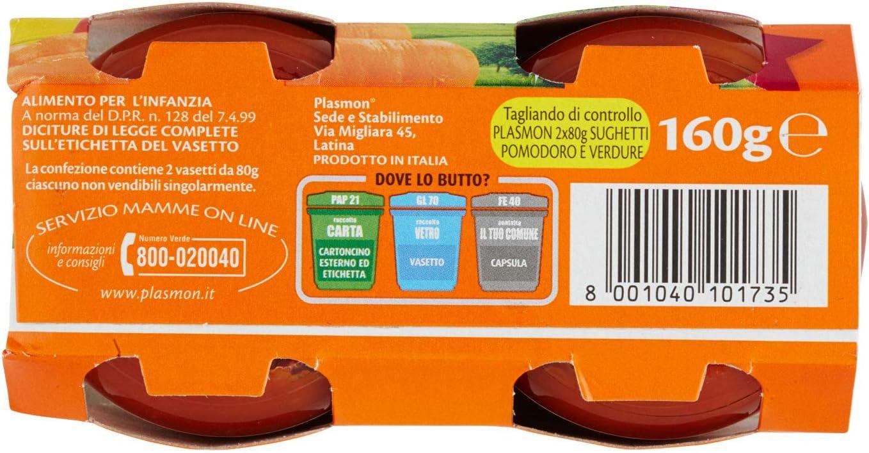 2 vasetti da 80 gr 160 g Totale Plasmon Sughetto Pomodoro e Ricotta