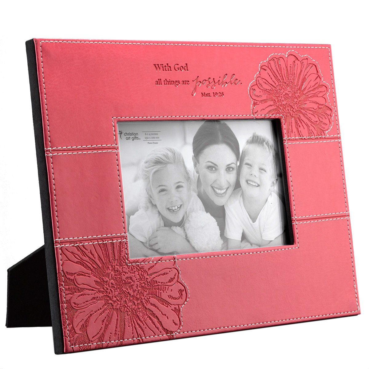 Pink ''All Things Are Possible'' Faux Leather 4 x 6 Photo Frame - Matthew 19:26