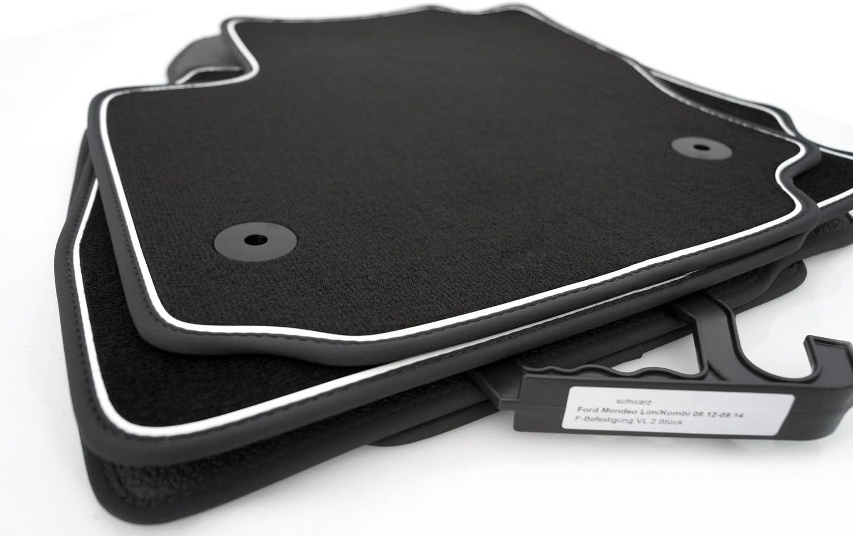 Kh Teile Fußmatten Velours Automatten Premium Qualität Stoffmatten 4 Teilig Schwarz Nubukleder Einfassung Mit Weißem Band Auto