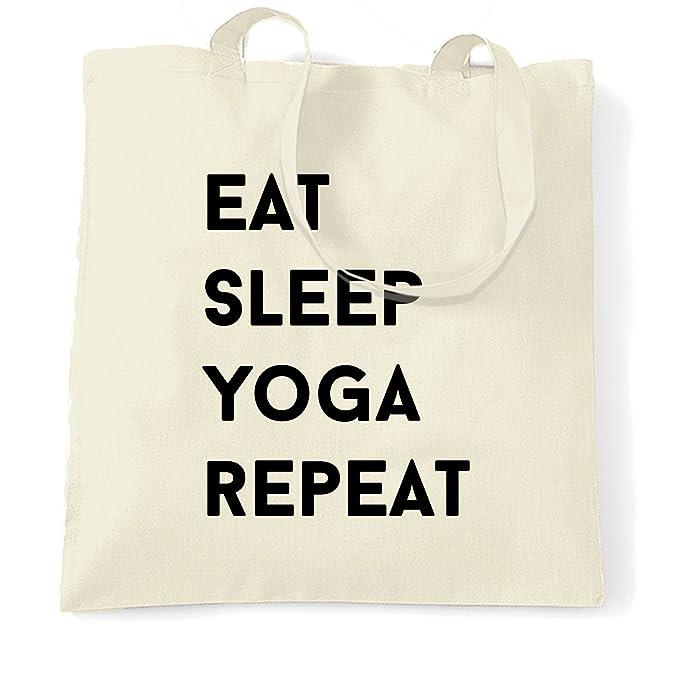 bdc4efbe60a92 Amazon.com | Funny Tote Bag Eat, Sleep, Yoga, Repeat Slogan Natural ...