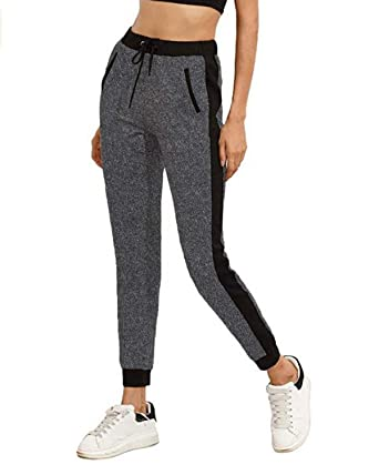 bc21818efdbe83 SUNNYME Women's Sweatpants Color Block Workout Athletic Yoga Joggers Pants  with Pockets W-Grey S