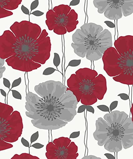 Red Silver Grey White Fd14866 Poppie Fine Decor Wallpaper By Fine Decor