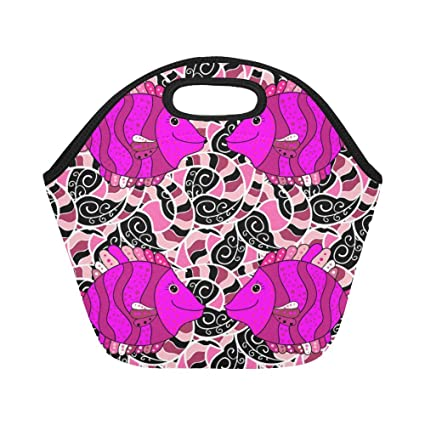 33807b0b308d Amazon.com: InterestPrint Lunch Bags Colored Zentangle Doodle Fishes ...