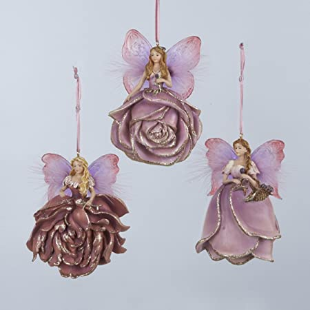 Fairy Christmas Ornaments.Pack Of 12 Assorted Plum Fairy Christmas Ornaments 4 5