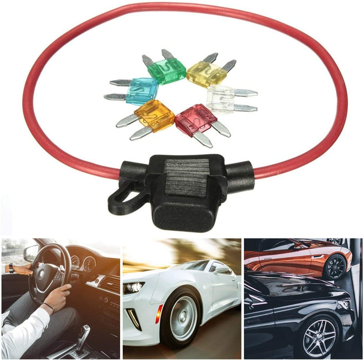Car Fuse Seat Automobile Fuse Seat Trumpet With 6 Fuse Inserts Safety Wire Inline Fuse Holders Multicolor Jasnyfall