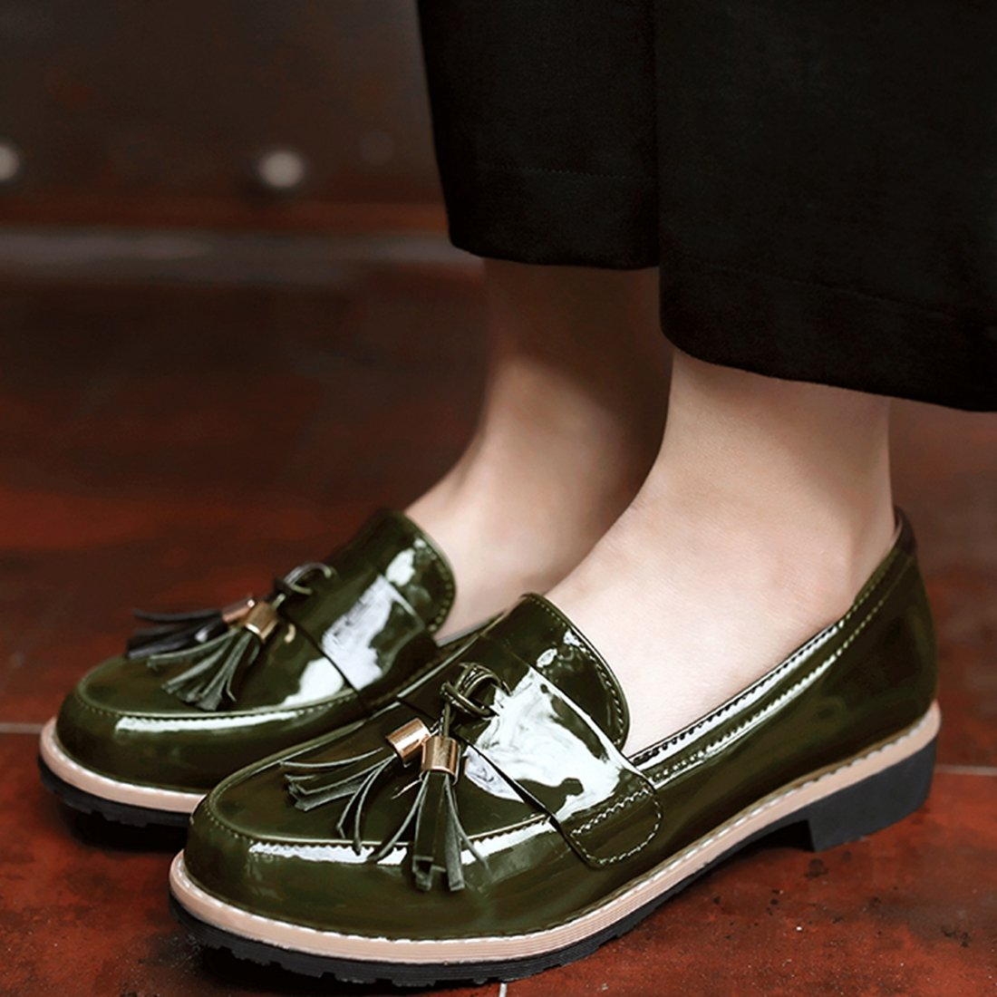 Vitalo Women's Slip On Flat Loafers Casual Ladies Vintage Fringe Tassel Work School Pumps Shoes UK Size 2-8