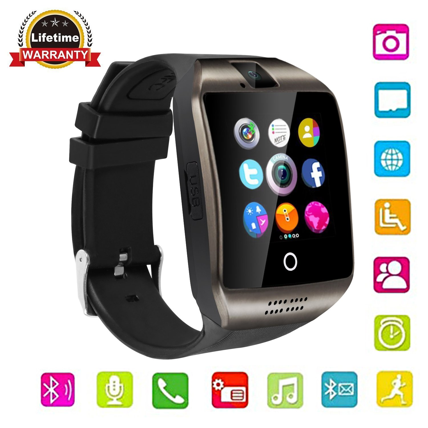 Touch Screen Bluetooth Smart Watch with Camera, Unlocked Watch Cell phone for Android/IOS/ Samsung /iPhone/ Huawei/HTC/ Sony/Nexus (Black)
