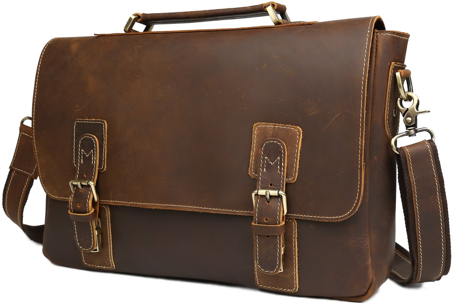 "Iswee Crazy Horse Cowhide Genuine Leather Flap Briefcase 14"" in Laptop Bag Messenger Handbag (Brown)"