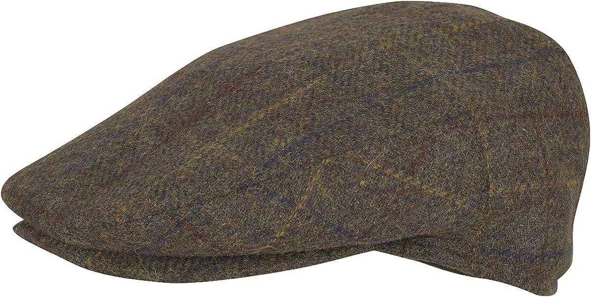 JACK PYKE Mens Wool Blend Flat Cap Brown Check