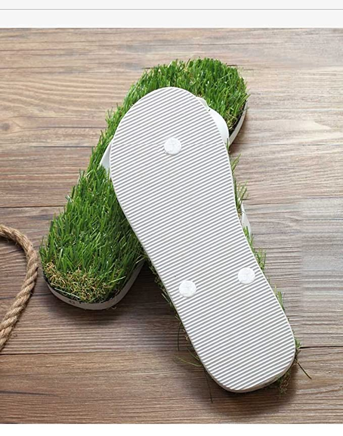 Sandals Simulation De Création Pelouse Cool Massage Personnalisé Chaussons Tongs Antidérapant,44,White