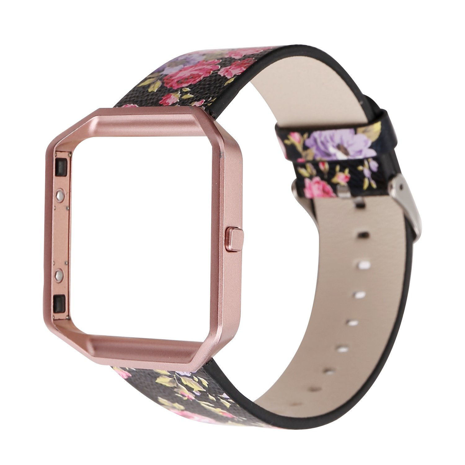 YOSWAN Replacement Band for Fitbit Blaze, Watchband Floral Soft Leather Strap Replacement Watch Band Wristband Bracelet Strap and Frame for Fitbit Blaze (Black Pink+ Rose Pink Frame)