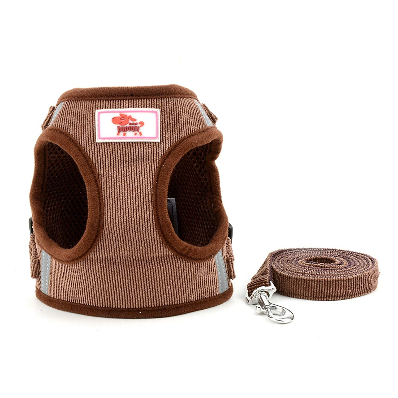 SELMAI Arn/és de Malla para Gatos Perros Peque/ños No Tirar No Estrangular A Prueba de Escape Chaleco Arn/és para Cachorro Correa Ajustable para Gatito Caminando Suave Material de Pana,Rosado,XL