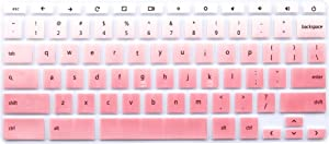 "Silicone Keyboard Cover for HP Chromebook 14 G2 G3 G4 Series & HP Chromebook 14-ak 14-ca 14-db 14-X Series & HP Chromebook 11 G2, G3, G4, G5, G6 EE Series & HP Chromebook x360 11.6"" - Pink Ombre"