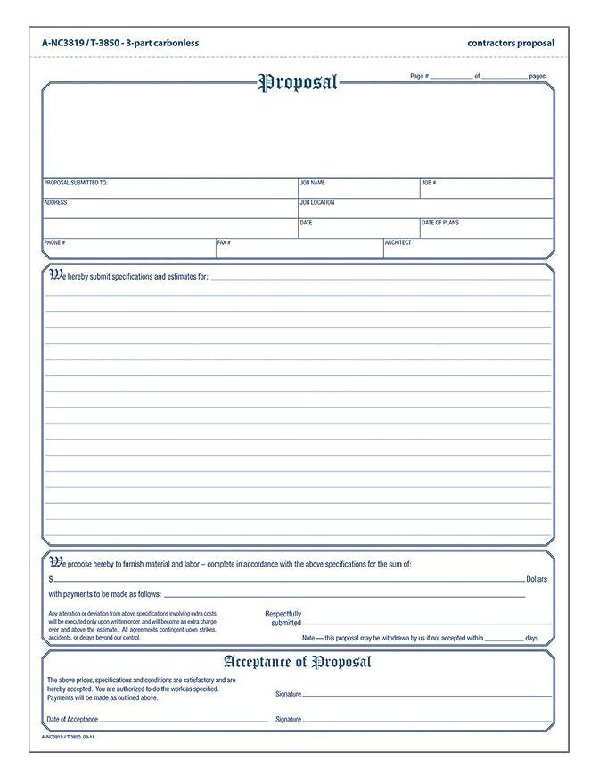amazon com adams contractor s proposal forms 8 5 x 11 44 inch 3