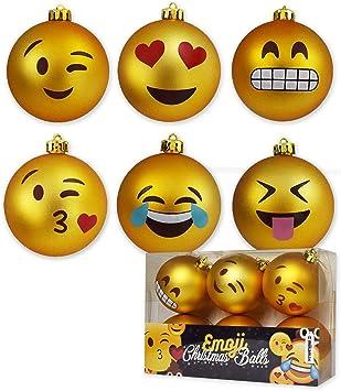 Mikamax Boules De Noel Boules De Noel Emoji Ensemble De 6 Boules Ornements De Noel 8 Cm Amazon Fr Cuisine Maison
