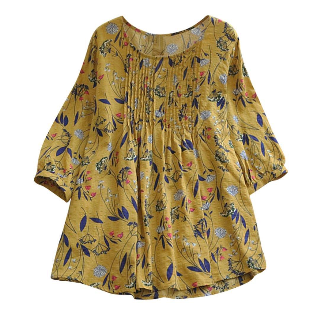 Zegeey Women Summer Autumn Fashion Unique Fashion Print Loose Pleated 3/4 Sleeve O-Neck Vintage Blouses