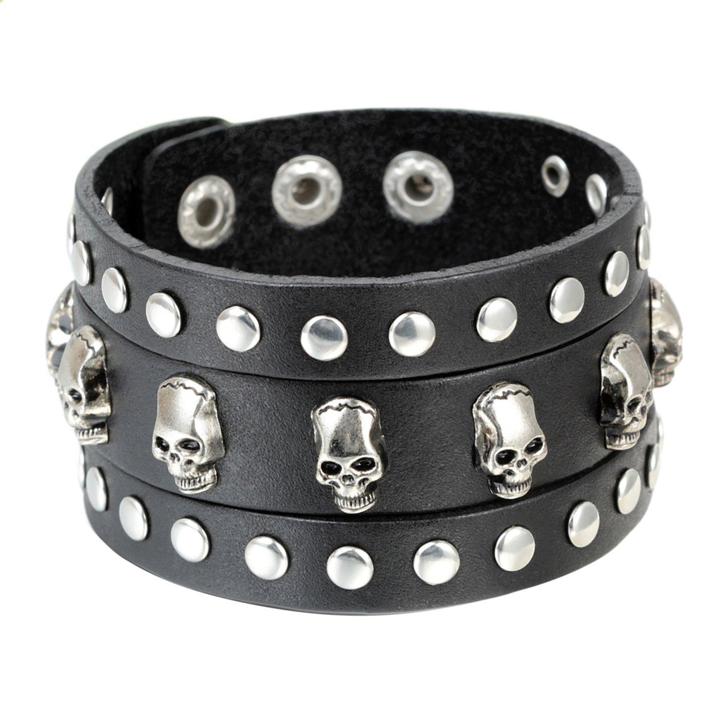 Cupimatch Punk Gothic Skull Rivet Wide Leather Bracelet Cuff Adjustable 7.5-8.7