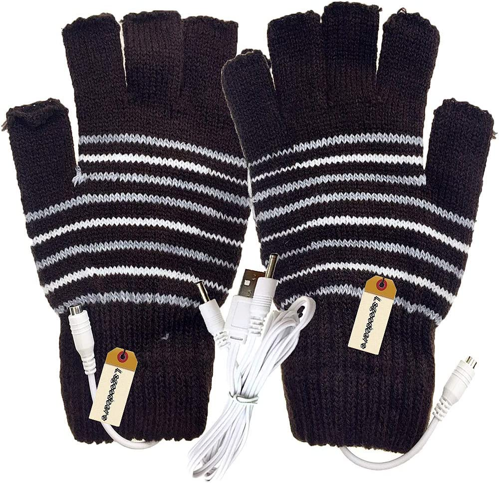 Lsgoodcare Brown USB 2.0 Stripe Pattern Fingerless Heating Knitting Wool Hands Warm Gloves Gloves