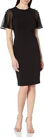 Calvin Klein Women's Button Chiffon Flutter Sleeve Sheath Dress