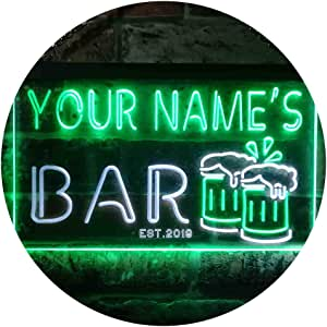 "ADVPRO Personalized Your Name Est Year Theme Bar Beer Mug Decoration Dual Color LED Neon Sign White & Green 16"" x 12"" st6s43-w1-tm-wg"