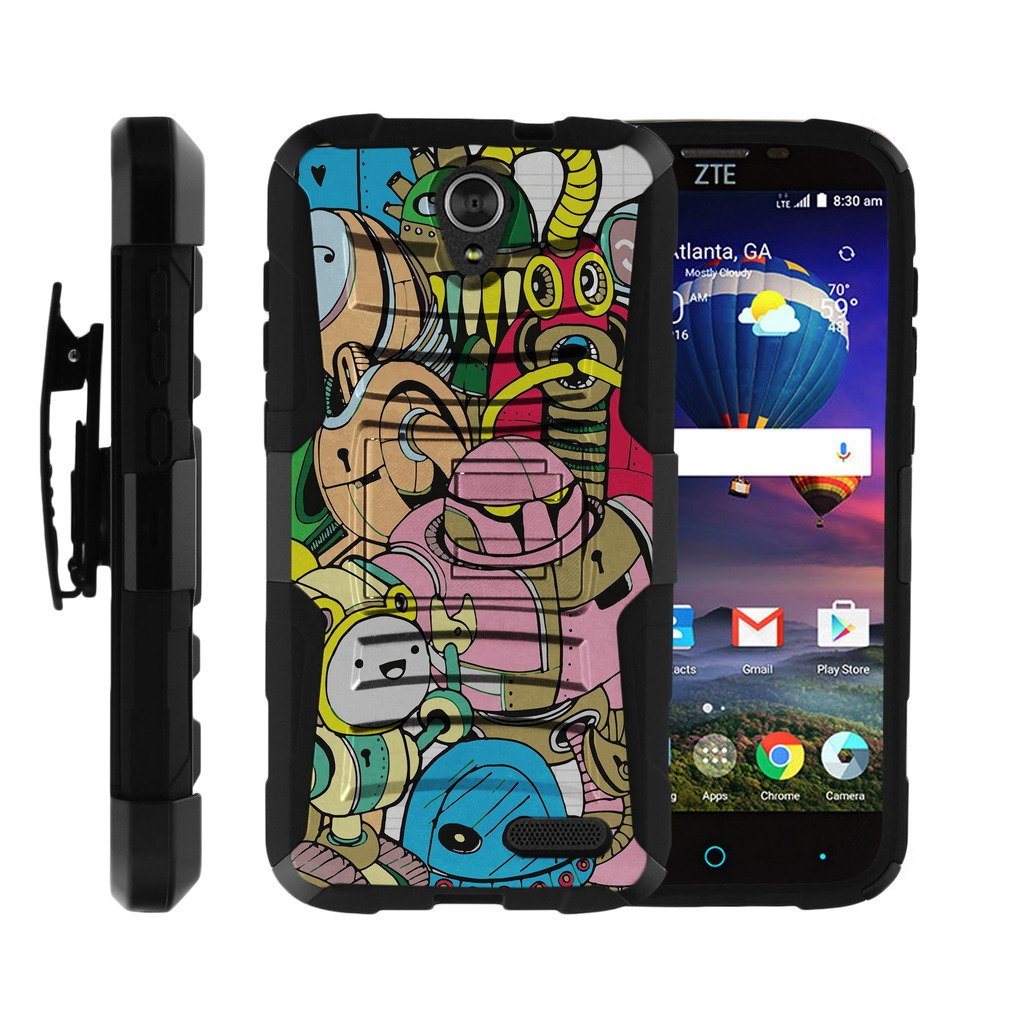 TurtleArmor | Compatible for ZTE Grand X 3 Case | ZMax Champ | Warp 7 [Hyper Shock] Armor Solid Hybrid Case Kickstand Impact Rubber Holster Belt Clip Robot Android - Cartoon Robots