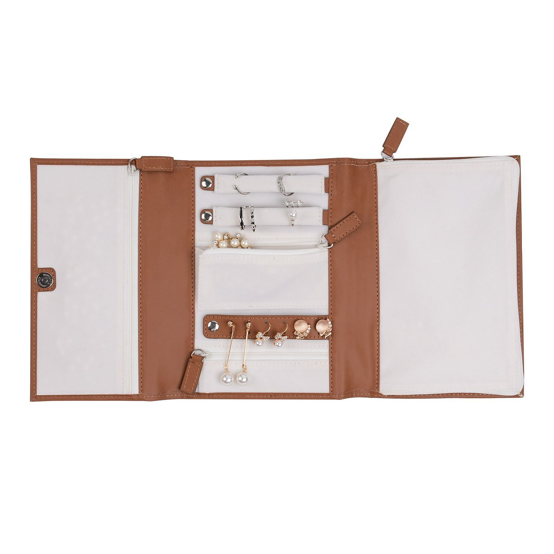 PU Leather Travel Jewelry Case - Jewelry Organizer by Case Elegance (Triple 8.26×6.29×1.18, Brown) WEIYISS.inc