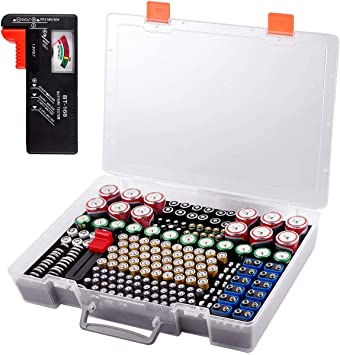 Battery Organizer Holder Batteries Storage Containers Box Case with Tester Checker BT-168 Garage Organization Holds 225 Batteries AA AAA C D Cell 9V 3V Lithium LR44 CR2 CR1632 CR2032