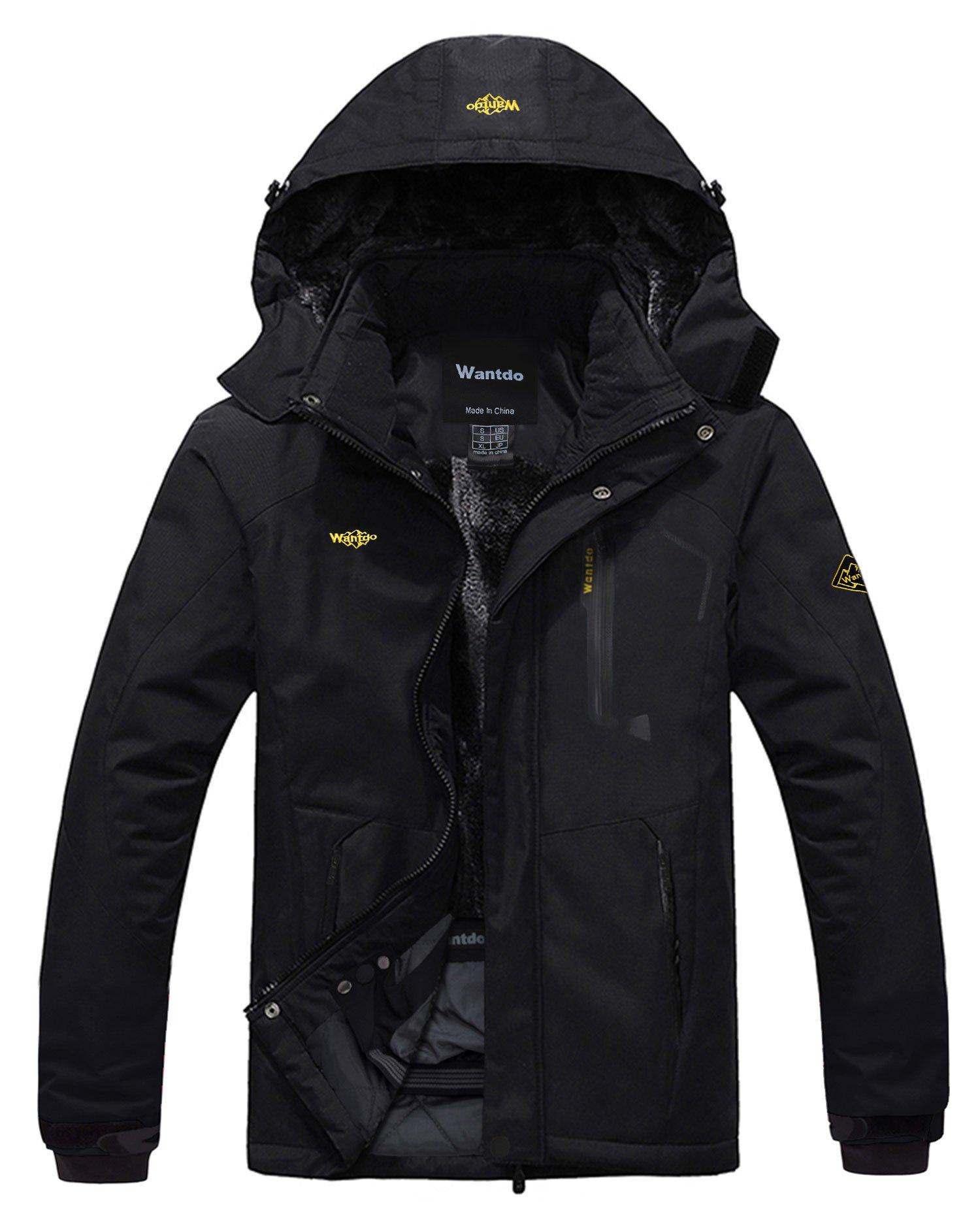 Wantdo Men's Mountain Waterproof Ski Jacket Windproof Rain Jacket Black XXXL by Wantdo