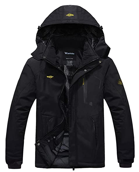 Amazon.com : Wantdo Men's Mountain Waterproof Fleece Ski Jacket ...