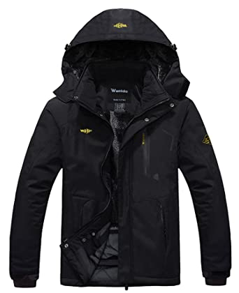 95f6e7831 Wantdo Men's Waterproof Mountain Jacket Fleece Windproof Ski Jacket US S  Black S