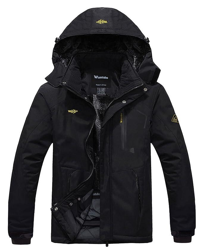 Amazon.com : Wantdo Men's Mountain Waterproof Fleece Ski Jacket ...