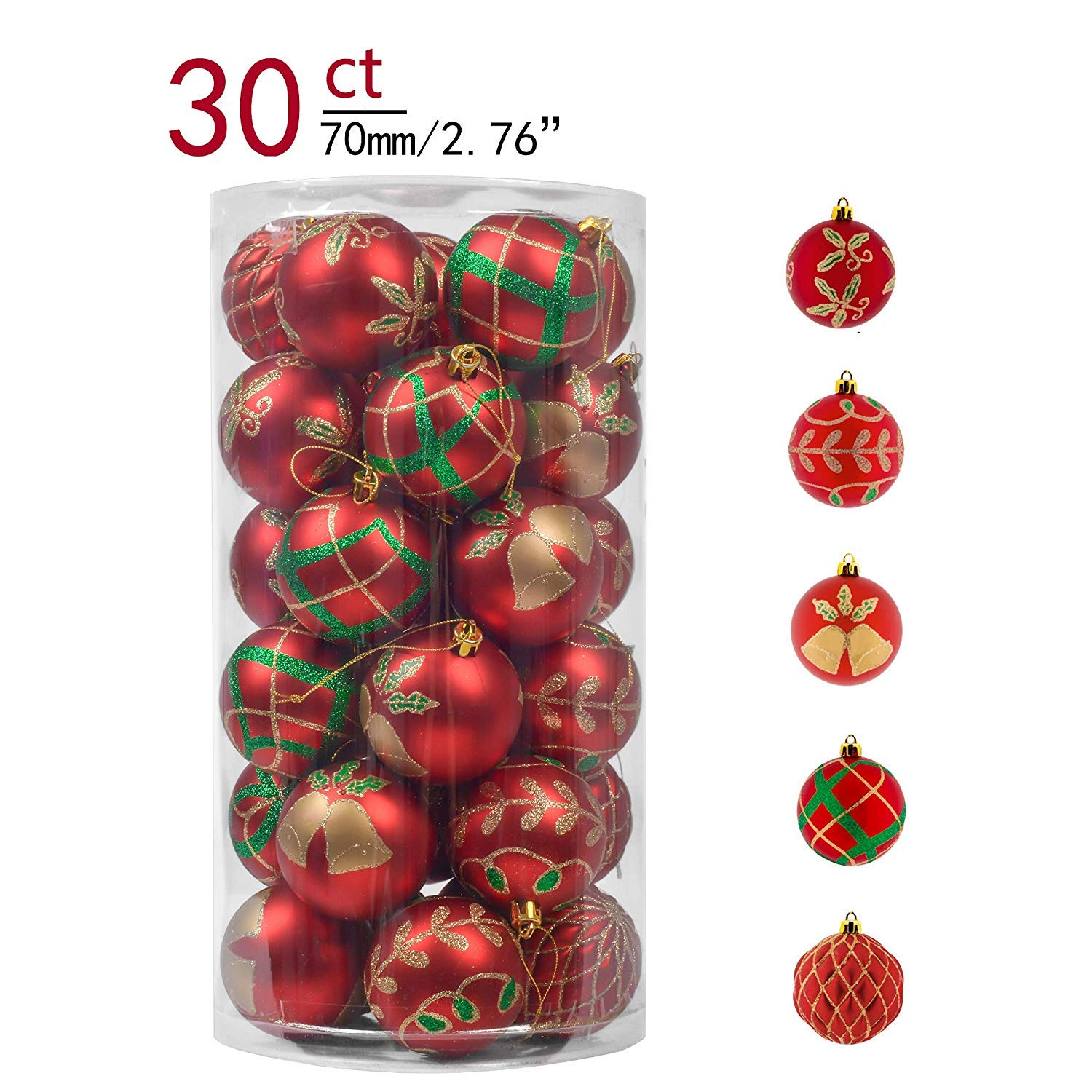 Valery Madelyn 30ct 70mm Red Christmas Shatterproof Ball Ornaments Christmas Tree Decoration, Themed with Tree Skirt (Not Included)
