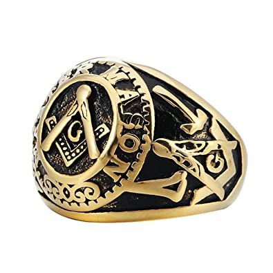 College Style Look (GOLD Plated) Stainless Steel Freemason Ring Masonic  Rings  Freemason's Jewelry for Free Masonry Member  Free Masons Masonary  Ring