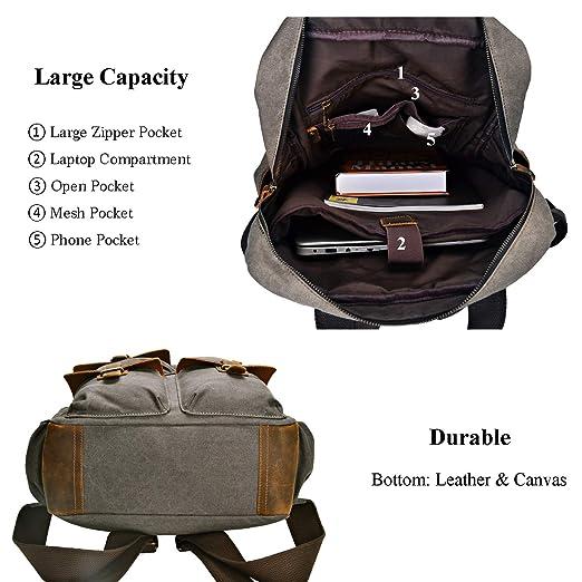 e8125f8e1c45 Amazon.com  ALTOSY Canvas Backpack Crazy Horse Leather Rucksack for men  Laptop Bag 5351-1 (Army Green)  ALTOSY Co.