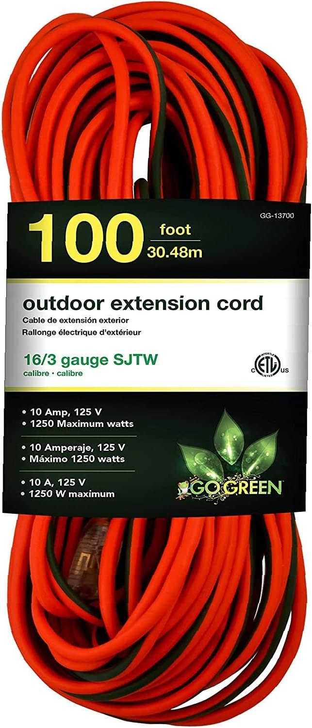 GoGreen Power GG-13700-16//3 100 SJTW Outdoor Extension Cord New Lighted End