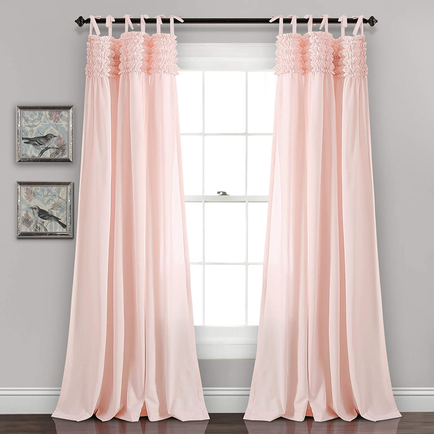 "Lush Decor Lydia Curtains Ruffle Window Panel Set for Living, Dining, Bedroom (Pair), 84"" x 40"", Blush"