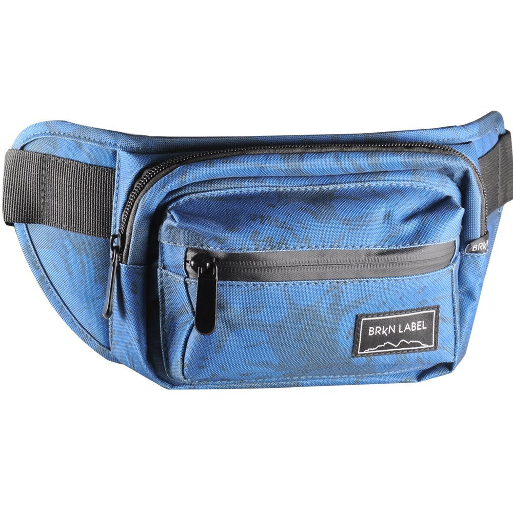 BRKN LABEL Hip Pack – Unisex Fanny Pack with Secret Pocket and Adjustable Strap – Water-Resistant Bum Bag for Festivals, Travelling, Hiking, Running, Cycling and More