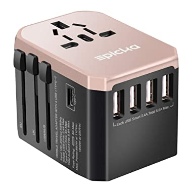 Universal Travel Power Adapter - EPICKA All in One Worldwide International Wall Charger AC Plug Adaptor with 5.6A Smart Power USB and 3.0A USB Type-C For USA EU UK AUS Cell Phone Laptop (Rose Gold)