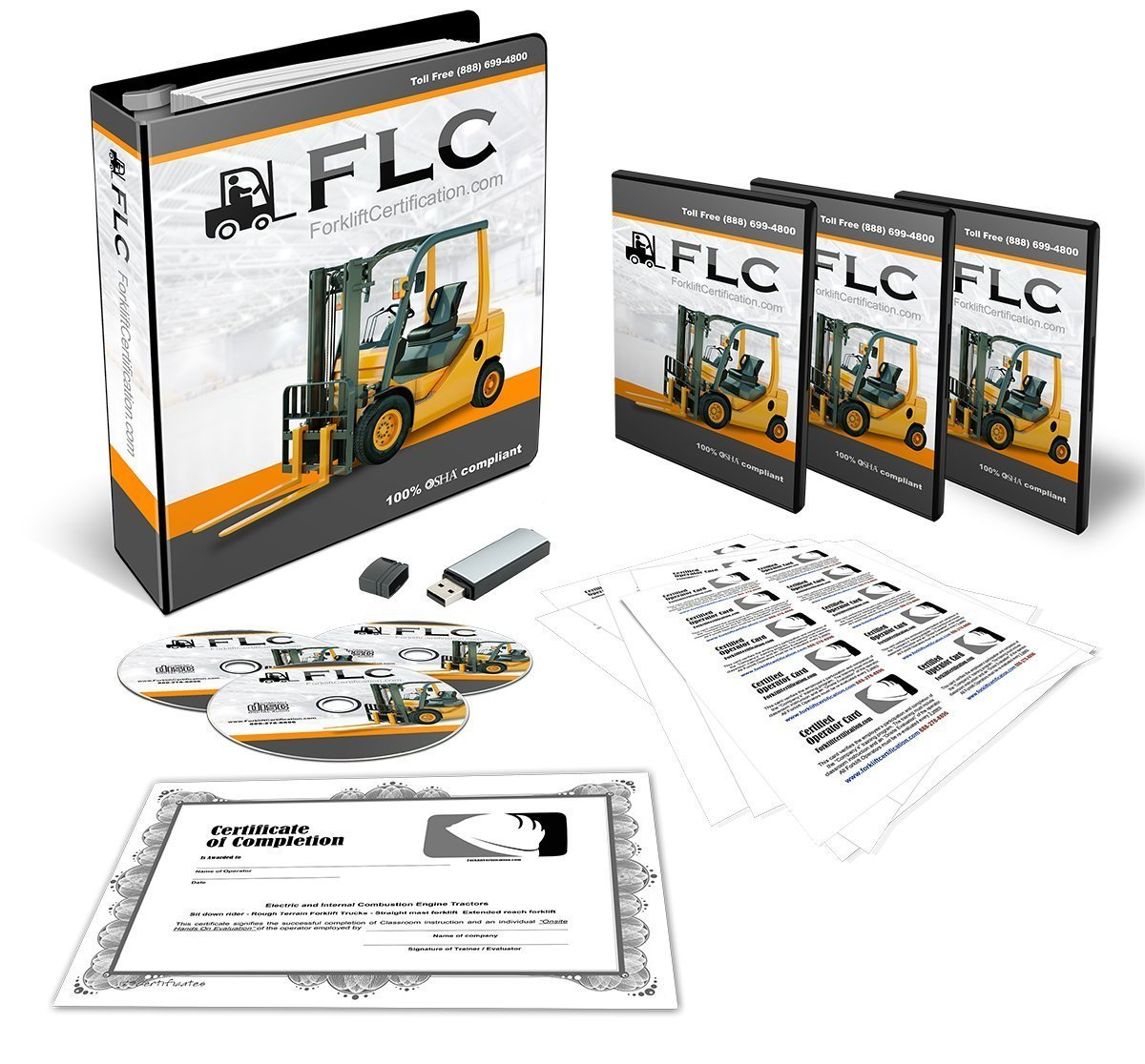 Forklift Certification Training Kit - 100% OSHA Compliant Forklift Operator COMPLETE Training With Certificates Of Completion, Operator Cards, Student Hand Outs, Evaluation Checklists & More!