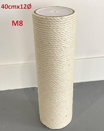 0d084d97284330 Ersatzstamm (1 Stuck) für Qualitäts Kratzbäume Kratzbaum 12cmØ und 40 cm  Länge m8 gewinde Sisalstamm grosse ...