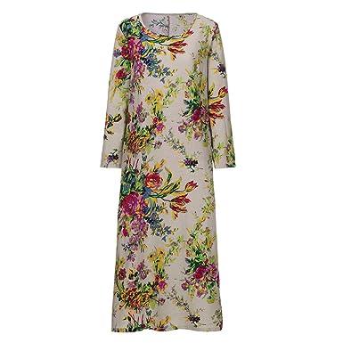Damen Mode Nationaler Stil Vintage Lose Sommer Boho Blumendruck Lang Abend Kleid