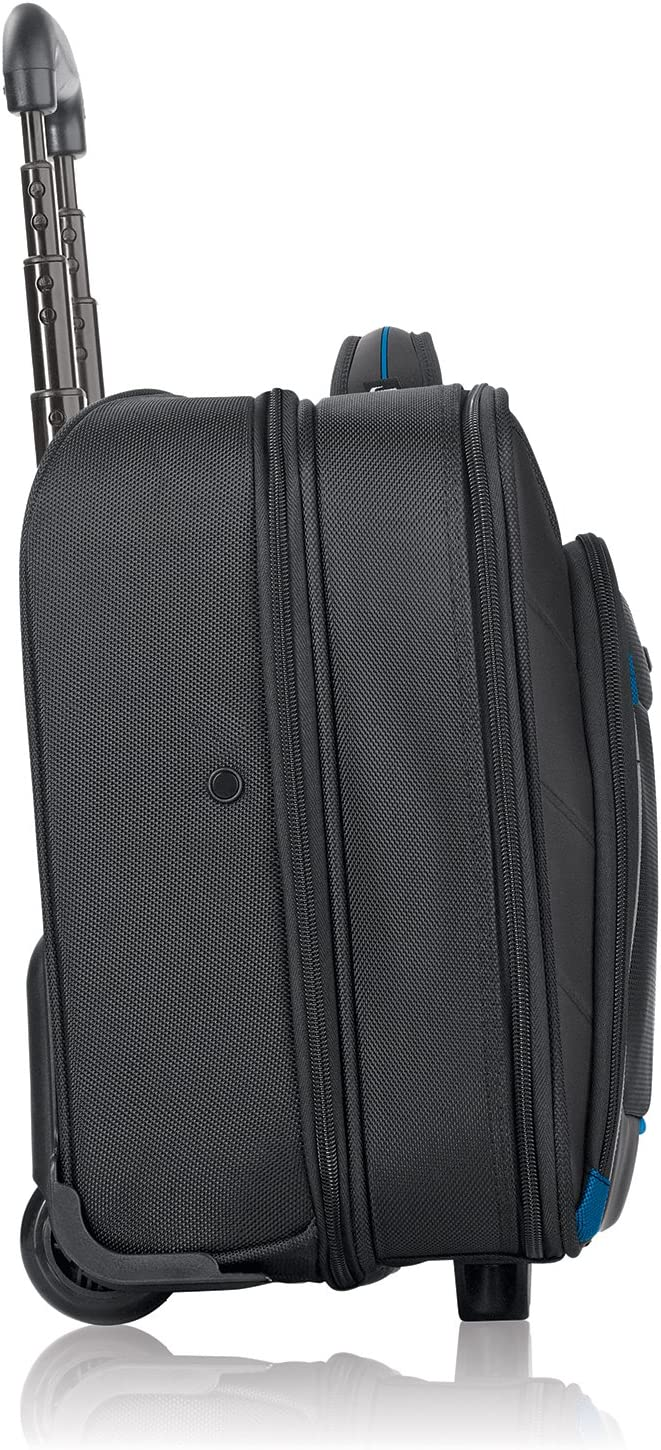 Solo New York Active Rolling Overnight Laptop Bag Black Business Travel Rolling Overnighter Case for Women and Men Fits up to 16 inch laptop
