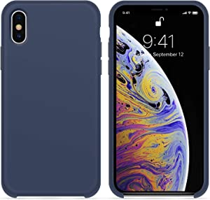 for iPhone X XS Case, OTOFLY [Silky and Soft Touch Series] Premium Soft Button Silicone Rubber Full-Body Protective Bumper Case Compatible with Apple iPhone X/iPhone Xs 5.8 inch, (Midnight Blue)