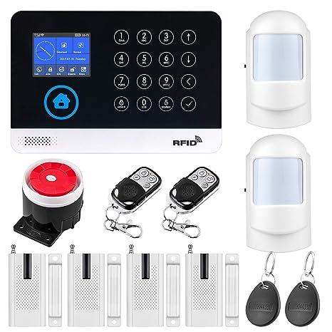 Fuers WG11 WiFi/gsm Sistema de Alarma para Casa Control por App/SMS Kit de Sistema de Alarma para el Hogar DIY con Tarjeta RFID, Marcación Automática ...