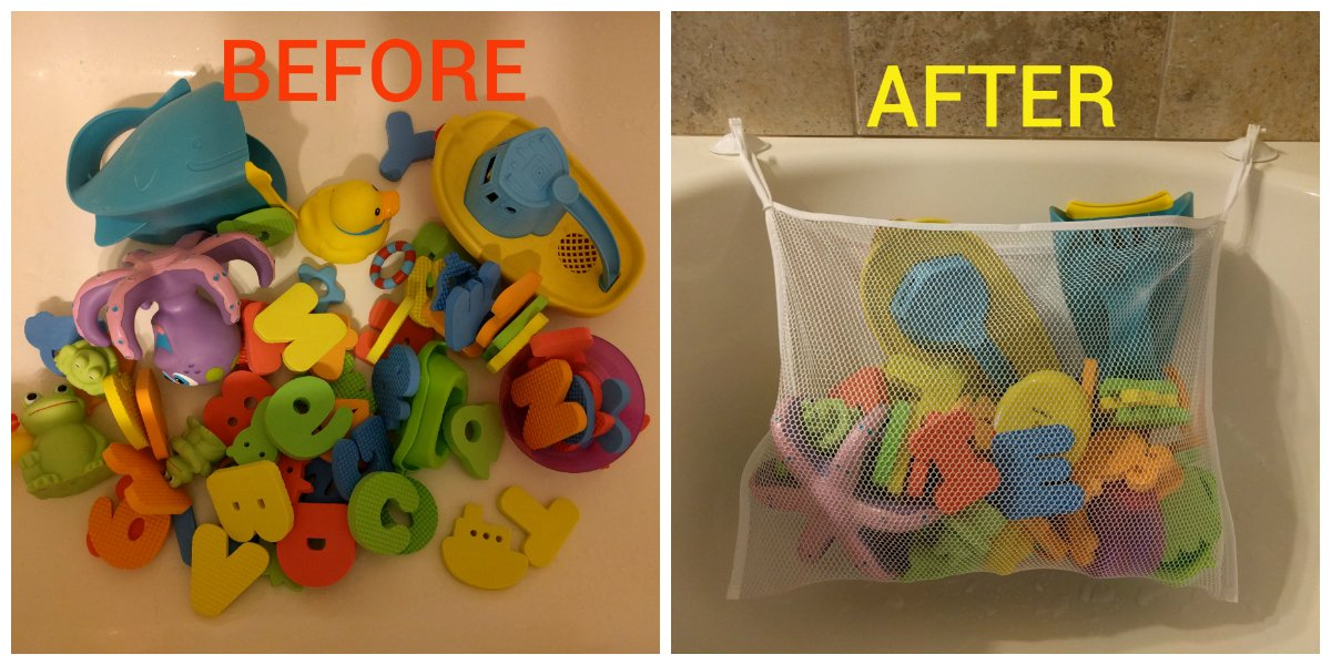 Amazon.com : Bath Toy Organizer Storage Bag, Fast Drying Mesh Bag + ...