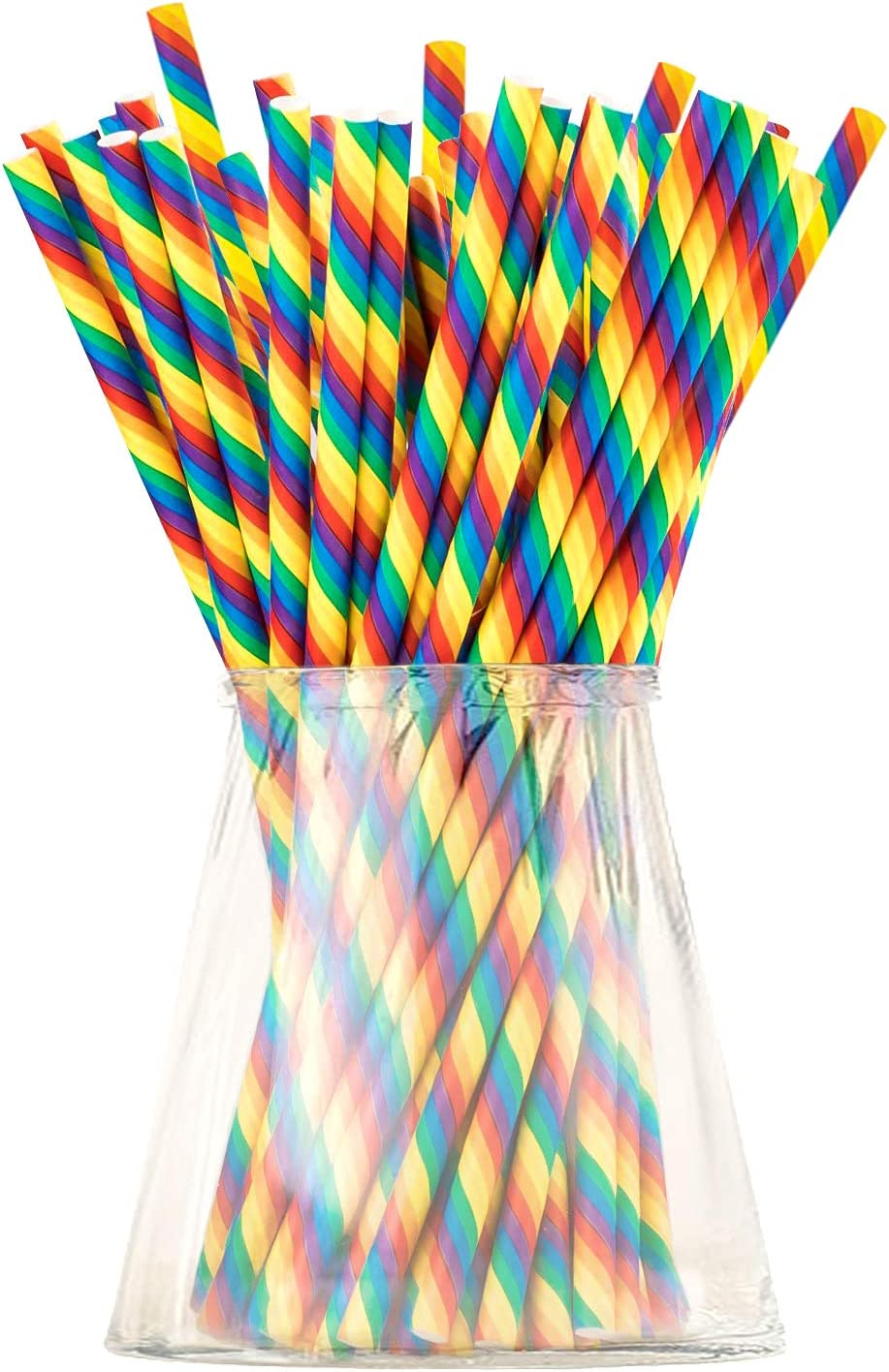 Biodegradable Rainbow Paper Straws for Party Supplies, Birthday, LGBTQ, Gay Pride Day, Wedding, Anniversary Decorations and Holiday Celebrations - Eco-Friendly Drinking Straws (Rainbow, 320)
