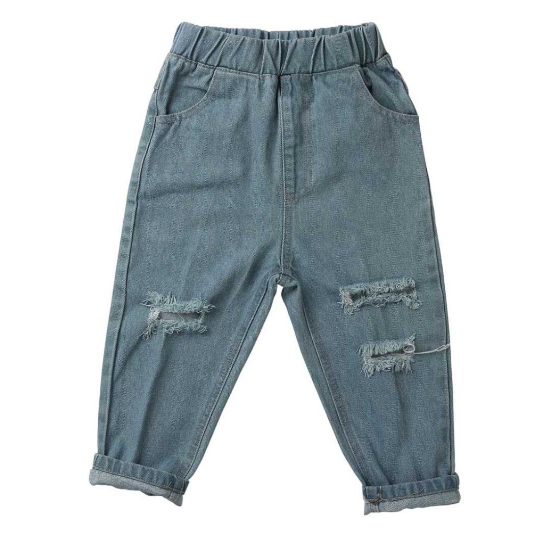 Toddler Kids Baby Girl Boy Ripped Denim Loose Jeans Stretchy Pants Trousers by CSSD (2/3T, Light Blue)